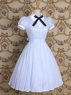 Light Blue Short Sleeves Classic Lolita Dress