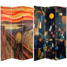 """6 ft. Tall Double Sided """"The Scream"""" Room Divider - OrientalFurniture.com"""