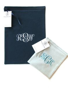 Black anti-tarnish bag or light gray?  Both are beautiful with the Simple Elegance monogram from Sherwood Silver Bags.