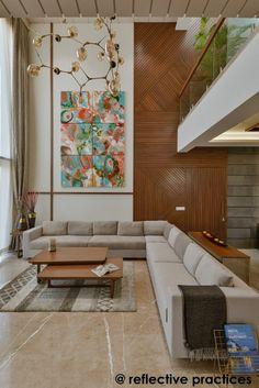 Residence Design with An Asymmetrical Expression Living Room Sofa Design, Home Room Design, Home Interior Design, Living Room Designs, Living Room Decor, Bungalow House Design, Modern House Design, High Ceiling Living Room, Deco Restaurant