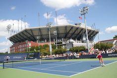 Day 2 - US Open - Andrea Hlavackova (CZE) and Klara Zakopalova (CZE)[24] face off  in the first round in the shadows of a show court. Hlavackova won 6-4, 6-4. - Billie Weiss/USTA