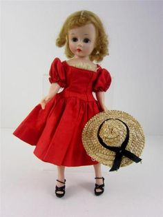 Madame Alexander Cisette 1950's doll in original taged dress. www.Connectibles.net