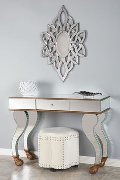 Statements by J     Laura Mirrored Console Table - Silver