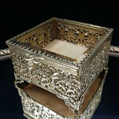 Jewelry Casket Beveled Glass Crystal Hollywood Regency Filigree