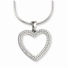 Sterling Silver & Cz Heart Necklace by Brilliant Embers. This adds a sense of charm to your favorite collection.Sterling Silver & CZ Brilliant Embers Heart Necklace. Model No.: QMP789-18. Sterling Silver. Product Type: Jewelry. Jewelry Type: Necklaces. Material: Primary: Sterling Silver. Material: Primary - Color: White. Material: Primary - Purity: 925. Chain Length: 18 in. Chain Width: 1 mm. Charm Length: 26 mm. Charm Width: 22 mm. Stone Type1: Cubic Zirconia (CZ). Stone Quantity1: 100....