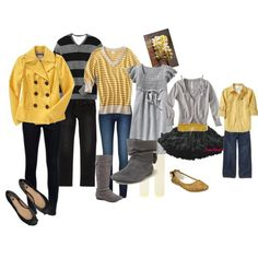 collection for our family pictures. grey, black and yellow color scheme Teske Goldsworthy Sweeney Family Photos What To Wear, Fall Family Pictures, Family Pics, Fall Photos, Family Picture Colors, Family Picture Outfits, Clothing Photography, Family Photography, Fall Family Outfits