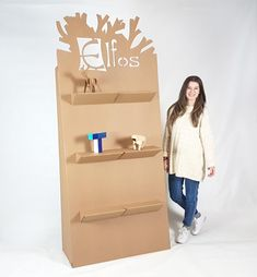 Cardboard Furniture, Ikea Furniture, Furniture Ideas, Makeup Store, Bookshelves, Origami, Easy Diy, Logo Design, Packaging