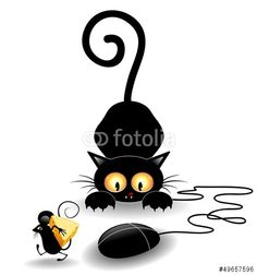 Sold! #Fun #Cat #Cartoon with #Computer #Mouse - #vector by #BluedarkArt ~ on #Fotolia