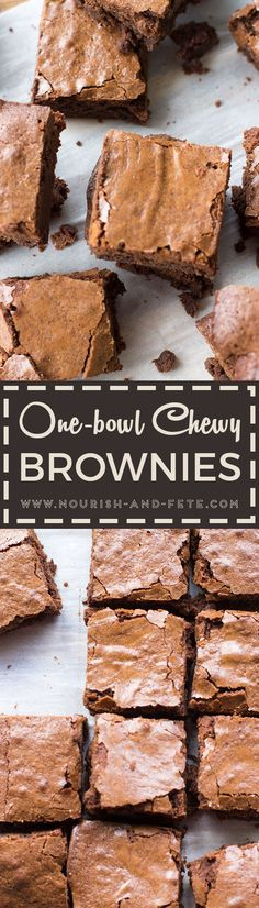Classic, chewy, chocolate-packed brownies made from scratch in just one bowl with pantry staples, and better than even the best boxed mix. via @nourishandfete