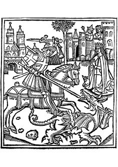 Coloring page created from a woodcut representing St George Slaying the Dragon, from the Life of Saint George (1515)
