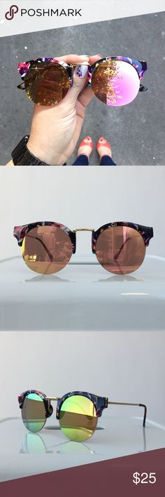 """Mirrored Sunglasses With Floral Pattern Browline Pink round mirrored statement sunglasses with a floral patterned browline. Approximately 5.8"""" x 2.2"""". UVA & UVB protection. Brand new. Please carefully review each photo before purchase as they are the best descriptors of the item. My price is firm. No trades. First come, first served. Thank you! :) Accessories Sunglasses"""
