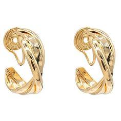 Clip On Earrings, Spiral, Elegant, Gold, Women, Classy, Chic, Yellow, Woman