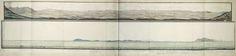 anoniem | Panorama van de westkust van het zuidelijkste deel van Zuid-Afrika, attributed to Robert Jacob Gordon, 1777 | Panorama van de westkust van het zuidelijkste deel van Zuid-Afrika, gezien vanaf Robbeneiland. Tekst ontsloten d.m.v. een gidskaart met delen A t/m D.