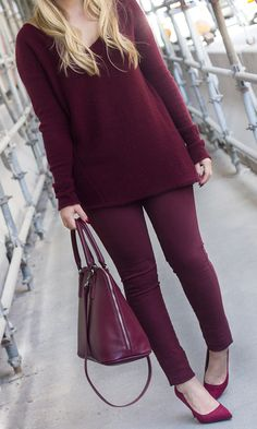 similar Oversized Burgundy Sweater | similar Burgundy Skinny Jeans | identical Burgundy Pumps |...