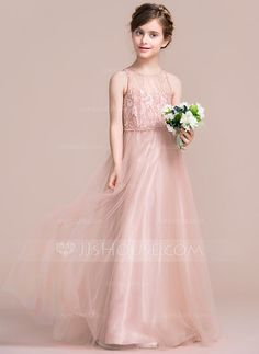 A-Line/Princess Scoop Neck Floor-Length Zipper Up Regular Straps Sleeveless No Other Colors General Tulle Junior Bridesmaid Dress