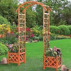 Wooden Arbor Trellis Arch two flower boxes cedar finish Garden