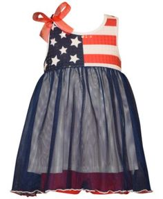 Hurray for Old Glory and Bonnie Baby's delightful flag-themed dress for baby girls, featuring sparkly sequins at the bodice to help her celebrate. | Polyester/cotton/spandex | Machine washable | Impor