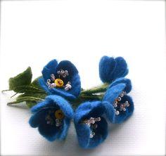Felt brooch blue flowers - Handmade- Felt brooch- Wool brooch - Blue brooch- Floral accessories- by jurooma on Etsy
