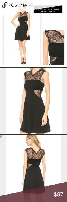 "✨NWT Bailey 44 Black 'Moonlight in Vermont' Dress Stunning ""Moonlight in Vermont"" dress in black brand NWT from Bailey 44, size XS, MSRP $202. Described on ShopBob (soldout) ""A-line shape & a bandeau style bodice. Tonal lace adds a sheer element to side cutouts & eyelash trim traces the illusion neckline. Lined skirt.-mid-weight jersey/lace-61%rayon/35%nylon/4%spandex-trim 100%nylon-lining 100%polyester-approximate length 35"". More msmts to follow ASAP! (DLOE) Bailey 44 Dresses"