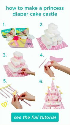 Learn how to create this fun DIY princess diaper cake castle with an easy step-by-step video. Pin found by Freebies-For-Baby.com