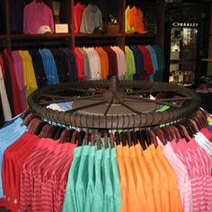 Tiendas de ropa Custom Made Retail Clothing Rack by Against the Grain Woodworking & Design, LLC Your Retail Display Shelves, Store Displays, Retail Clothing Racks, Clothes Racks, Diy Clothes, Bicycle Basket, Mobile Boutique, Golf Shop, Wagon Wheel