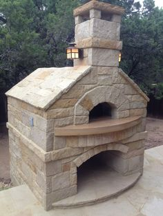 Exterior, Interesting White Stacked Stone Custom Outdoor Pizza Oven With Lighting For Inspiring Backyard Patio Kitchen Ideas: Amazing Outdoor Pizza Oven Wood Burner And Modern Design Pictures