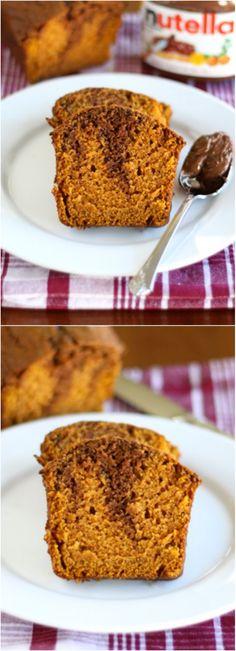 Pumpkin Nutella Bread Recipe on twopeasandtheirpod.com Pumpkin Bread swirled with Nutella! SO good! #pumpkin