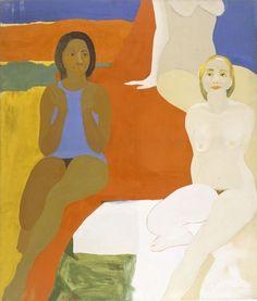 se trata de una imagen creada por adición ya que se ha añadido óleo al lienzo. EMMA AMOS Three Figures, 1966  60 × 50 in 152.4 × 127 cm