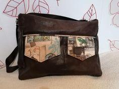 Besace Zip-Zip en simili cuir et coton illustré cousue par Valérie - Patron Sacôtin