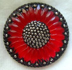 Czech Glass Button - LG Red-Orange Reverse Painted Sunflower Button w/ Black and Silver Accents