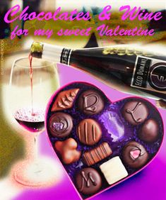 """""""Chocolates and Wine for my Sweet Valentine"""" Romantic animated entry from Elvis Weathercock. Endless bottle pouring a glass of wine with a heart shaped box of chocolates"""