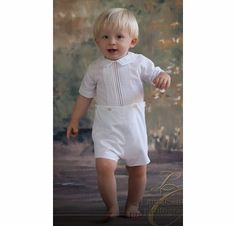 47e042d0c Feltman Brothers Boy's White Button On Shortall Romper. Boy Baptism Outfit,  Christening, Romper