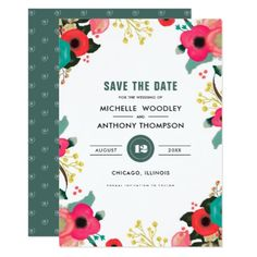 #Save the Date. Modern Floral Wedding Announcements - #savethedate #wedding #love #card #cards #invite #invitation