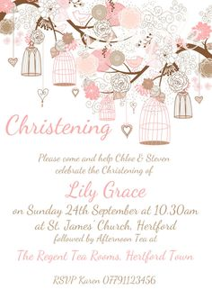 Personalised Birdcage Christening day invitations,10.25.50.100