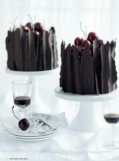 Dark Chocolate cherry cakes | More foodie lusciousness here: http://mylusciouslife.com/photo-galleries/wining-dining-entertaining-and-celebrating/