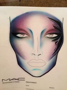 Tribal alien facechart. Beautiful Face Chart #makeup #FaceChart