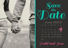 Save the Date Printable Card with Mini Date by ConfettiColoredDay
