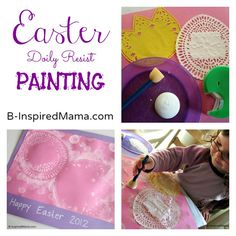 Have you done any Easter arts and crafts yet? Use some simple paper doilies for this fun and beautiful kids Easter Doily Resist Painting! Find out how at B-InspiredMama.com.