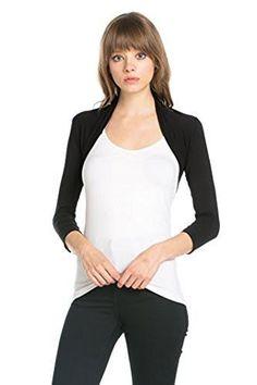 Fashion Secrets Women`s Purple 3//4 Chiffon Bolero Shrug Sweater Jacket Cardigan
