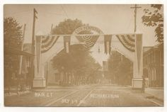 "Another view of the ""Esto Perpetua"" arch on West Main Street for the 1907 Mechanicsburg Centennial celebration."