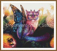 Fairy big cat cross stitch pattern - Nostalgia - modern counted cross stitch pattern Maquenda Licensed by UnconventionalX on Etsy