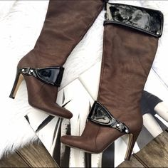 Nine West leather boots These boots are so chic and on trend! Great condition! Side zippers for easy on and off Nine West Shoes Heeled Boots