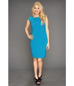 Ellen Tracy Checked Neck Bistretch Sheath Dress $64.00