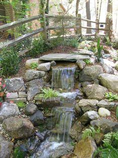 Small Waterfall Pond Landscaping For Backyard Decor Ideas 45 Outdoor Water Features, Water Features In The Garden, Backyard Water Feature, Ponds Backyard, Backyard Ideas, Small Garden Ponds, Backyard Stream, Garden Stream, Backyard Designs