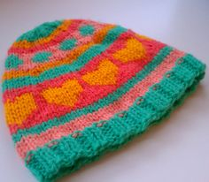toddler's whimsical hat - size 1T to 2T - handknit children's beanie with whimsical stripes, hearts and polka dots in candy colors - $20.00 at kateydid handmade