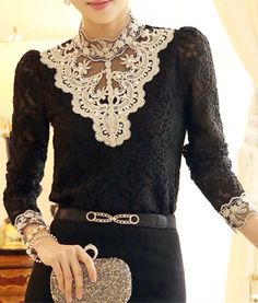 Long Sleeve Stand-Up Collar Rhinestones Embellished Blouse