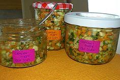 Selbst gemachte Gemüsebrühe Pesto, Mason Jars, Oatmeal, Breakfast, Recipes, Food, Canning, Food Portions, Homemade