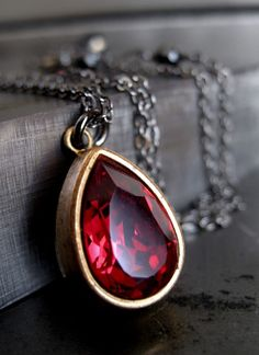 Vintage Ruby Red Crystal Necklace - Crown Jewel $38 on etsy