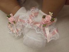 "Dream 3 6 Months Baby Pink Ribbon Roses Romany Frilly 26 28"" Socks Reborn Dolls | eBay"