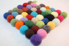 wool felt ball trivet coaster colorful eco friendly home decor table top decoration. $25.00, via Etsy.